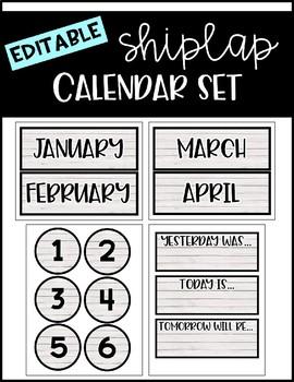 Shiplap Calendar EDITABLE