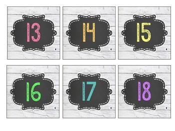 Shiplap & Chalkboard Brights Numbers 1-30