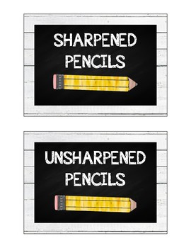 Shiplap & Chalkboard Pencil Bucket Labels