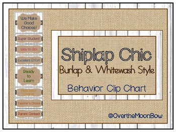 Shiplap Chic Rustic Wood Burlap & Whitewash Style Behavior Clip Chart