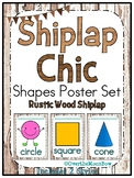 Shiplap Chic Rustic Wood   Shapes Poster Set