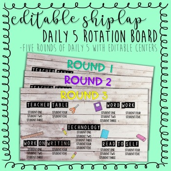 Shiplap Editable Daily 5 Rotation Board PowerPoint
