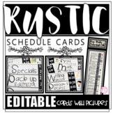 Editable Rustic Shiplap Schedule Cards