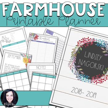 Shiplap Farmhouse Printable Teacher Planner