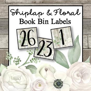 Shiplap & Floral Book Bin Labels
