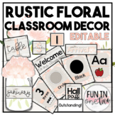 Shiplap Floral Classroom Decor Bundle ♥ EDITABLE ♥ Rustic