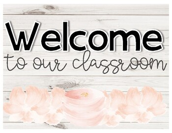 Shiplap Floral Classroom Posters Set ♥ Welcome ♥ Growth Mindset ♥ Rustic Decor