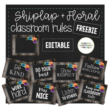Shiplap + Floral Classroom Rules Editable Freebie