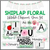 Shiplap Floral Editable Classroom Decor Bundle