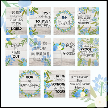 Shiplap Floral Inspirational Posters