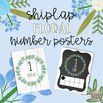Shiplap Floral Number Posters
