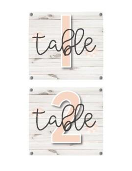 Shiplap Floral Table Number Labels ♥ 1-10 ♥ Rustic Decor