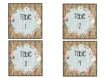 Shiplap Floral Table Numbers