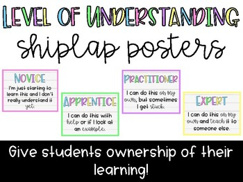 Shiplap Level of Understanding Posters