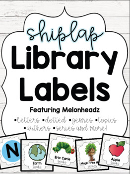 Shiplap Library Labels Featuring Melonheadz