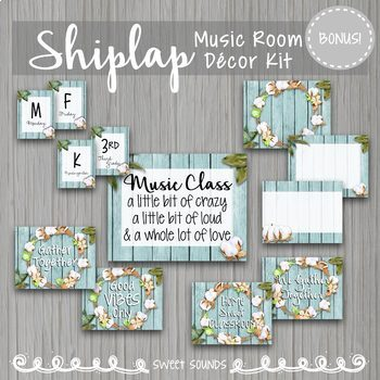 Farmhouse Rustic Shiplap Music Room Decor Kit