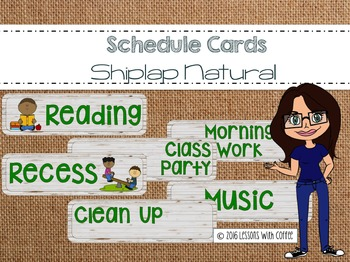 Shiplap Natural Schedule Cards for Classroom