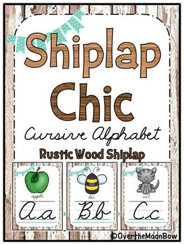 Shiplap Rustic Wood Cursive Alphabet Poster Set