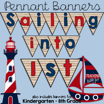 Shiplap Sailing Into... (Kindergarten - 8th Grade) Nautical Pennant Banner