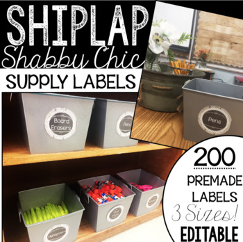200+ Supply Labels! -Shiplap Shabby FARMHOUSE - 3 sizes - EDITABLE!
