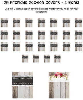 Shiplap Shabby Chic Teacher Binder - Editable! -  80+ Pages!