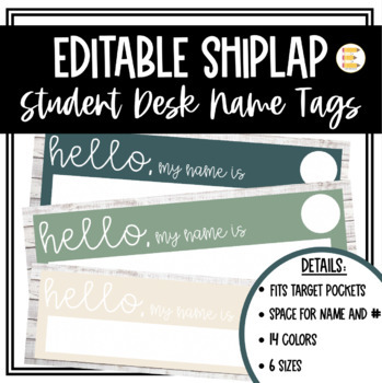 EDITABLE Shiplap Name Tags - 4 sizes [Can Fit ALL Target Dollar Spot Labels]