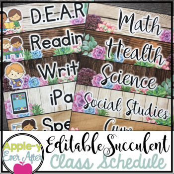 Shiplap Succulent - Class Schedule Cards