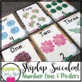Shiplap Succulent Designer Number Posters & Number Line