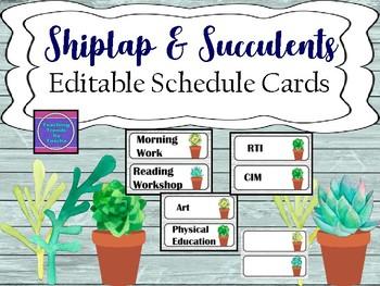 Shiplap & Succulents EdItable Schedule Cards