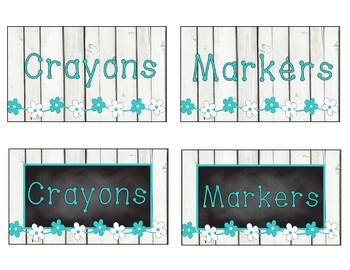 Shiplap/Wood/Shabby Chic Country Classroom Décor - flowers, turquoise