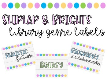Shiplap and Brights Library Genre Labels