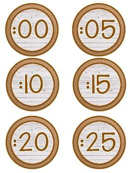 Shiplap and Burlap Analog Clock Numbers Classroom Decor