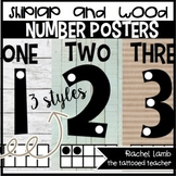 Shiplap and Burlap Number Posters 0-20 in 3 styles (includes Spanish!)