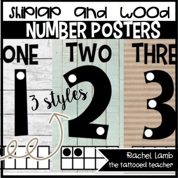Shiplap and Burlap Number Posters 0-10 in 3 styles