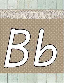 Shiplap and Burlap Print Alphabet Zaner Bloser and D'Nealian {Farmhouse Chic}