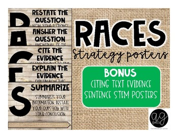 Shiplap and Burlap RACES Strategy Posters and Sentence Stems