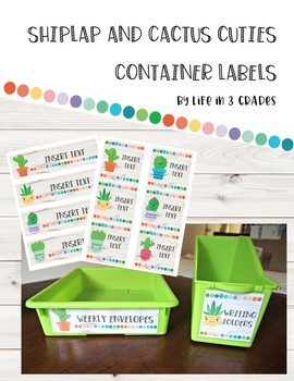 Shiplap and Cactus Cuties *Editable* Container Labels