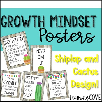 Shiplap and Cactus Growth Mindset Posters! 25 Different Posters!