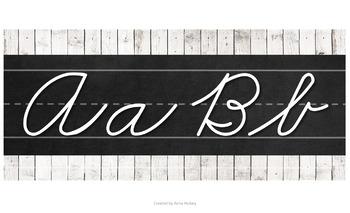 Shiplap and Chalkboard Cursive Alphabet (Zaner Bloser)