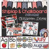 Shiplap and Chalkboard Editable Classroom Decor