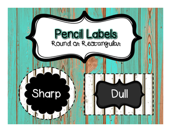 Shiplap and Chalkboard Pencil Labels (Round or Rectangular)