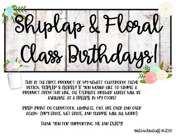 Shiplap and Floral Student Birthdays Display