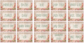 Shiplap and Floral Teacher Toolbox Labels