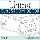 Shiplap and Llama Theme Editable Classroom Decor Bundle