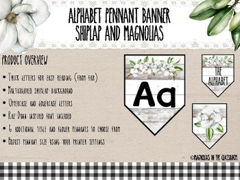Farmhouse Inspired Shiplap and Magnolias Alphabet Pennant Banner