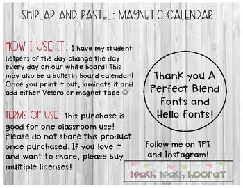 Shiplap and Pastels : Magnetic Calendar