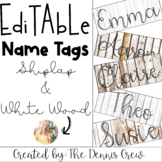Shiplap and White Wood Editable Name Tags