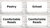 Shiplap book bin labels