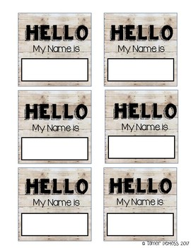 Shiplap themed student name tags
