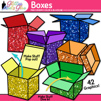 Box Clip Art | Rainbow Glitter Shipping and Moving Packages for Resources